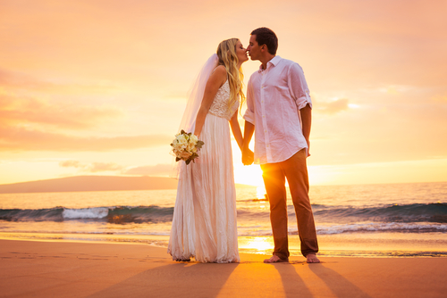 Kauai Hawaii Romantic Beach side wedding